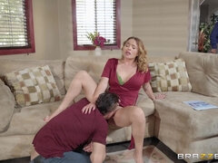 Horny Stepmom Seduces Son Showing Her Pussy Under Dress