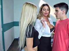 Hot Threesome at School with Students and Teacher