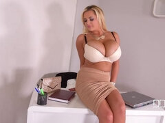 Pastime Pleasures - Busty Secretary Bangs Her Snatch With Dildo