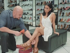 Monica Asis gets fucked & cum fed by the salesman during shopping