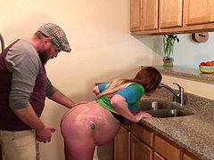 pregnant milf Gets Ass Fucked and internal cumshot by Stepson