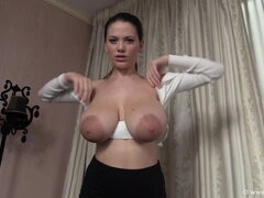 Fuck that - big saggy tits with big nipples in solo boob play with milking