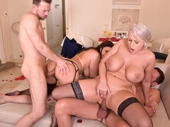 Angel Wicky and Sofia Lee - Wild Foursome Group Sex with double penetration, ATM and cum on tits