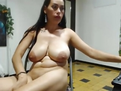 Hot Latina milks her saggy boobs