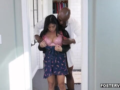 Foster parents way of teaching Ember Snow - interracial threesome