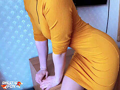 Babe fellate and Cowgirl on bone in Yellow dress and Torn Tights
