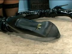 Kitty fucked in black stockings and boots