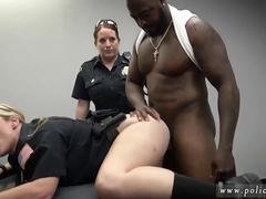 Two busty officers of the law blow a black dudes donger