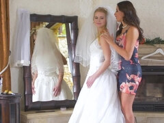 Bridesmaid Anissa Kate & bride Kate Frost share the groom in a 3some