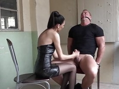 Sweet domina gags and furthermore cuffs sub for hard jerk off
