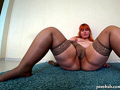 beautiful BBW nylon pantyhose and pantyhose getting off and wet snatch