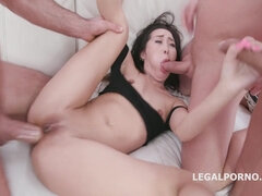 Brutal gangbang with young pretty Czech brunette - double penetration and cumshots