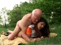 Old fuck tool jerked on this outdoor interracial banging