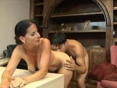 Old secretary Melissa Monet let younger boss fuck her