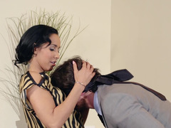 Kinky bitch is getting her clothes taken off in the office