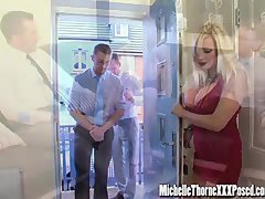 Dirty blonde housewife bangs two hunky strangers in all her holes