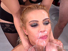 Premium bukkake - virgin smooch swallows 28 big cum loads