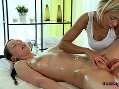 rubdown Rooms Teen girl-on-girls oil each other up before intense lesbian joy