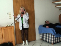 Dude gets down and dirty hot blonde grandma in black stockings
