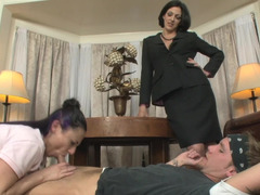 A pair of women are having a contest in a hot and additionally sexy three-way