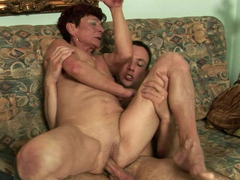 A nasty aged woman receives a young and fresh cock in her beefy vagina