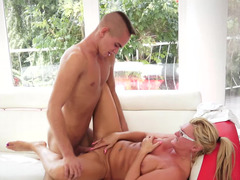 A granny is getting licked and plus fucked by a young dude today