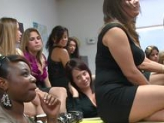Partying office girls sucking black cock
