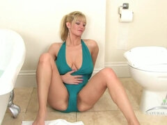 Super hairy cunt and mature saggy tits in solo bathtub video