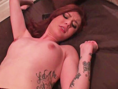 Redhead is stripping naked and is then riding a hard love pole