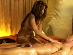 She Jerks Him with a sensual and plus romantic massage