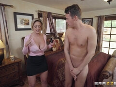 Stepmom with huge natural hooters fucks her shy stepson in the shower