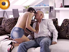 OLD4K. Old man cums in girls open mouth after wonderful anal sex