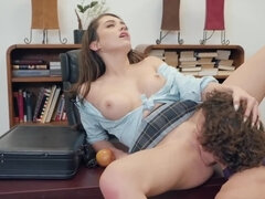 Naughty student seduces guidance counselor in his office