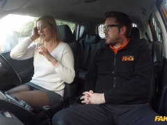 A Czech MILF gets fucked through her ripped tights by her driving instuctor