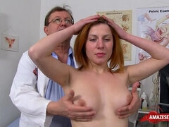 Redhead doctor gaping with money shot