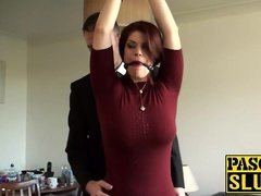 Bondaged redhead beauty Lucia Enjoy rides a stick prick
