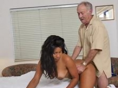 Huge breast strap on old and china guy Glenn completes the job