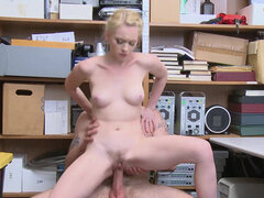 Athena Rayne pays for her shoplifting with mouth and pussy
