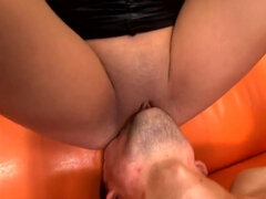 Slave drink mistress's urine and gets straponed