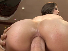 A sexually available mom is getting her ass pounded anally by a large hard cock