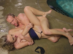 Passionate pool getting down and dirty with a sweet blonde girl
