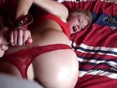 Pussyfucked beauty dominated by her master