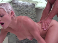 A blonde with a first-class pussy is getting her fuck hole rammed real hard