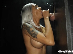 Raunchy Blond Prick Sucker - latina babe gloryhole