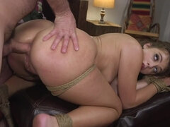 Bound bitch with huge ass gets analyzed by rude master