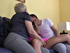 Granny fucked by lucky boy and additionally his GF