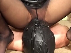 Ashtray slave gets spitted & pantyhose & bare pussy facesitting in the hallway
