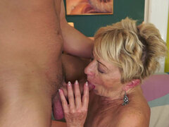Old granny enjoys taking a young dick deep in her vagina