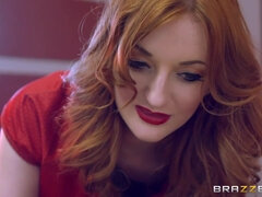 Sexiest redhead milf Brooklyn Zara drains cum from huge dick