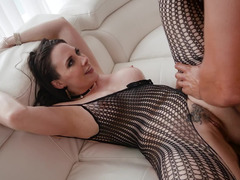Chanel Preston dolled up in a body stocking for backdoor sex